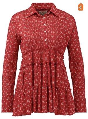 Denim & Supply Ralph Lauren Blusa de túnica rojo oscuro-beige claro