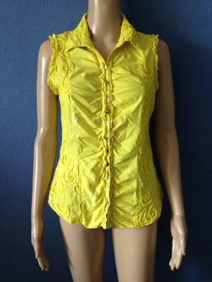 Bluse Designer Weste Gelb Romantisch