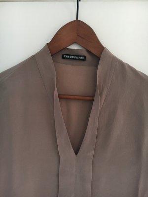 Drykorn Zijden blouse grijs-bruin