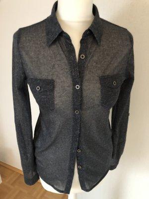 Active USA Long Sleeve Blouse dark blue-white polyester