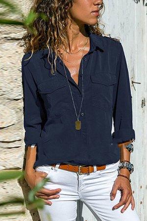 Shirt Blouse dark blue mixture fibre