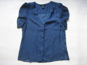 Bluse dunkelblau punkte H&M neu locker gr. 36 S