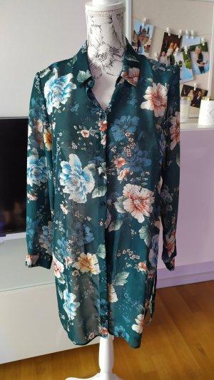 Bluse dunkelgrün mit Blumen wie neu Gr XL