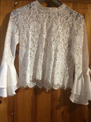 MAY Blusa de encaje blanco