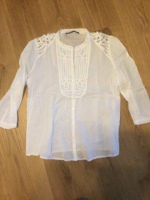 Hallhuber Kanten blouse wit