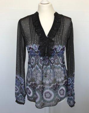 Bluse Esprit schwarz transparent mit buntem floralem Muster