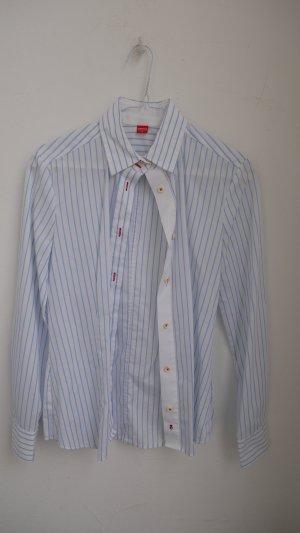 Bluse # eterna Excellent # 36 # weiß mit hellblauen Streifen # rote Details