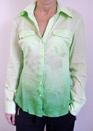Bluse Express Ombre Dip Dye Grün Semitransparent Farbverlauf Frühling Grüntöne