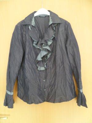 Bluse extravagant, Mark Adam, Gr.44 mit Rüsche vorn, matt glänzend, kaffeebraun