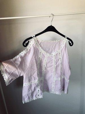 Oversized blouse wit-lichtroze