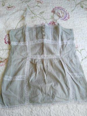 Mudo Collection Haut à fines bretelles blanc-gris vert