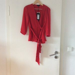 Selected Femme Blusa cruzada rojo-rojo oscuro