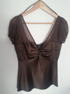 Esprit Short Sleeved Blouse brown red polyester