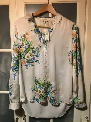 Bluse geblümt seidig-glänzend oversized