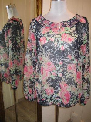 Transparante blouse veelkleurig