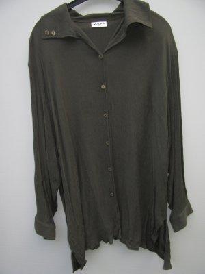Bluse gekrinkelt Vintage Retro kaki olive Gr. 52 oversize