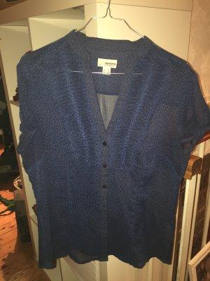 Bluse gemustert Blau transparent