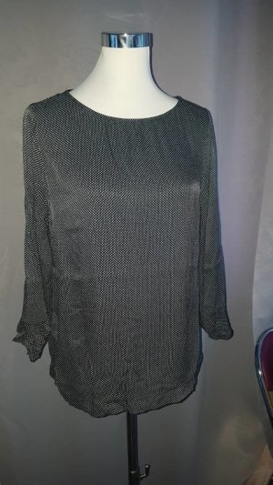 Street One Blusa caída negro-blanco tejido mezclado