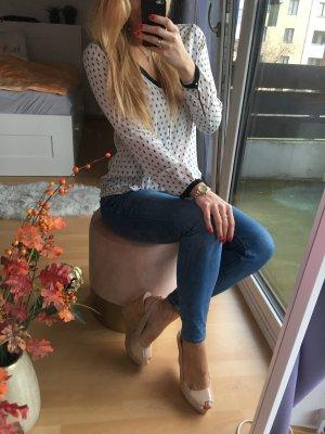 Bluse gepunktet Zara schwarz weiß S