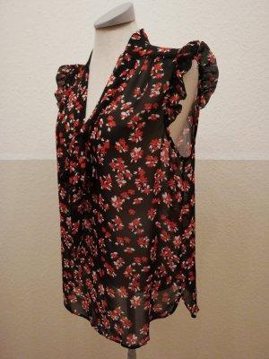 Bluse gerüscht Schluppenbluse Schlupfböuse schwarz rot Gr. 38 40 M L retro neu
