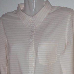Blusa de lino blanco-nude tejido mezclado