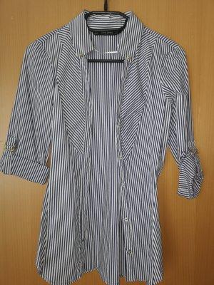 Zara Basic Hemdblouse wit-blauw