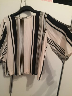 H&M Conscious Collection Kimono Blouse white-black