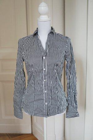 Bluse gestreift navy weiß dunkelblau marineblau Hemd stretchig Baumwolle 38 M