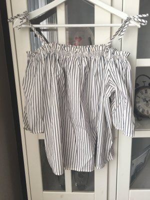 Bluse gestreift, schulterfrei, zum Binden •H&M•