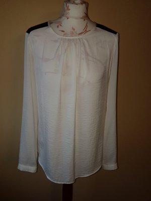 Bluse glänzend mit Lederimitat an den Schultern - neuwertig