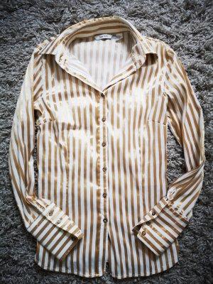 Bluse gold weiß von Zara Basic Gr.XS