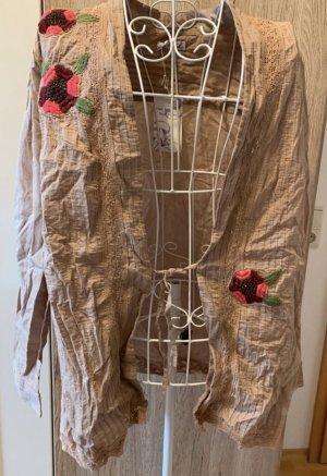 Bluse *Gr. 46* Beige mit Blumenapplikationen