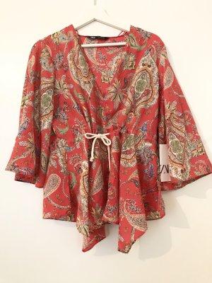 Zara Blusa tipo kimono blanco-rojo