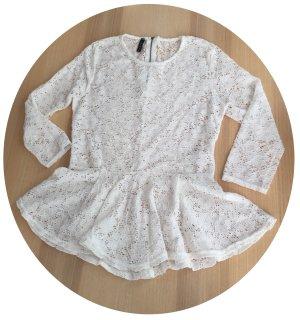 Bluse Gr. M Spitzenshirt Shirt Peplumtop aus Spitze weiß Schößchen Peplum