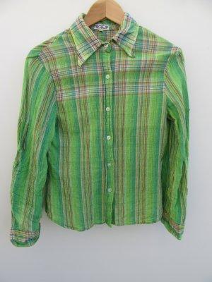 Bluse grün Damen Vintage Retro gekrinkelt Indien Gr. 38