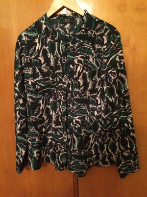 Bluse grün marine gemustert