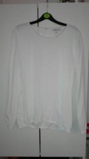 Bluse Gummibund elastisch Steilmann weiß silber