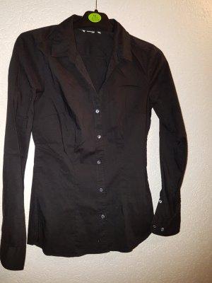 Bluse H&M Basic schwarz langarm figurbetont