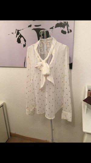 Bluse, H&m Chiffonkleid, weiß, Gold, Schleife