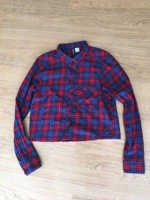 Bluse H&M Crop Bluse Karo blau rot 34 XS kurz kariert