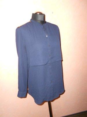 Bluse H&M Gr. 38/40 blau Lederdetails