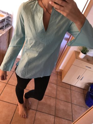 Blue Motion Long Sleeve Blouse baby blue-light blue