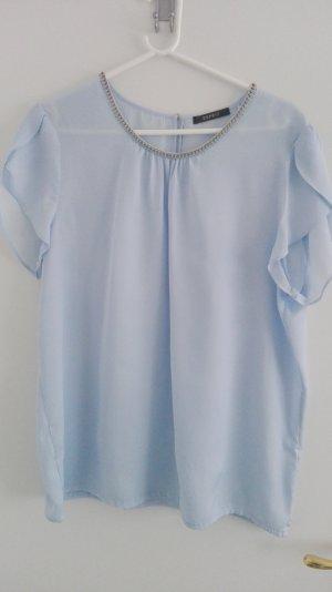 Bluse hellblau von Esprit mit Straßsteinborte am Ausschnitt