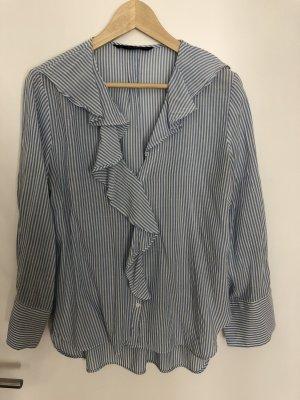 Zara Camicetta con arricciature bianco-azzurro