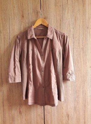 Bluse Hemd 3/4-Ärmel tailliert figurbetont braun beige Gr. 40