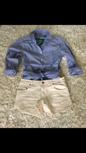 Bluse Hemd Benetton S blau weiß gestreift NEU Business Frühling blogger trend