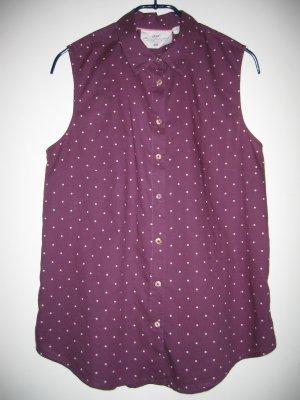 Bluse Hemd-Bluse ärmellos lila weiß Gr. 38 H&M