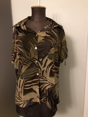 Bluse Hemd Chiffon Gr 40 42 M/L Palmen Muster