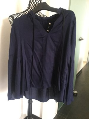 Bluse Hemd dunkelblau mit schwarzer Schnürung Gr. M 38 40 Mango Fledermausärmel