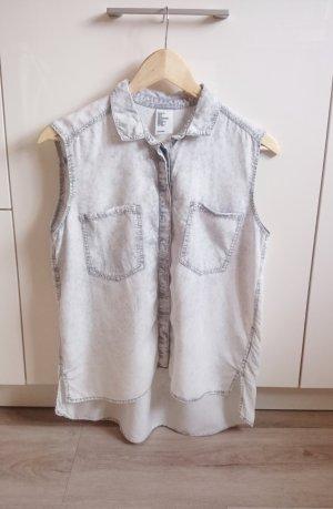 Bluse Hemd grau/weiß Gr. 34